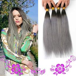 menschliches haar zwei ton grau Rabatt Brasilianisches Haar 3omb / lot des Oombre der neuen Ankunft silbernes graues Haar, das 1b / grau zwei Ton brasilianisches Menschenhaarverlängerungshaar bündelt