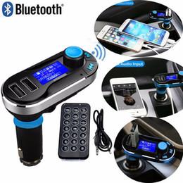 Double sd mp3 en Ligne-BT66 Ecran LCD véhicule Double USB Adaptateur allume-cigare pour voiture Kit voiture Convertisseur Bluetooth Lecteur MP3 Transmetteur FM Support mains libres SD