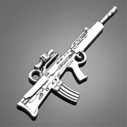 Máquinas de fazer charme on-line-100 pcs Arma Charme Para Fazer Jóias 2 Cores Banhado DIY Acessórios Vintage Submetralhadora Arma Charm Machine Gun Charme 45x17mm