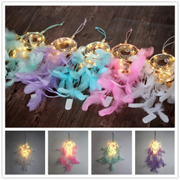 Wholesale Dream Catcher Led String con Feather Lights Cadenas Colgante Red Hom Hanging Handmade Night Light Kids Room Party Decoration A52209