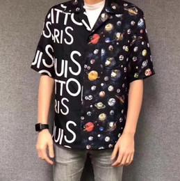19SS De Mode T-shirt Ciel Étoilé Étoile Soie Imprimé Complet À Manches Longues Chemise De Haute Qualité Hommes Et Femmes chemise S ? partir de fabricateur