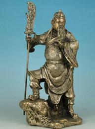 Placas de latão velhas on-line-Decoração lojas de fábrica de bronze Tibet Prata Grande Chinês Antigo Chapeamento de Prata Esculpida à Mão Poderosa Guan Yu Figura Estátua