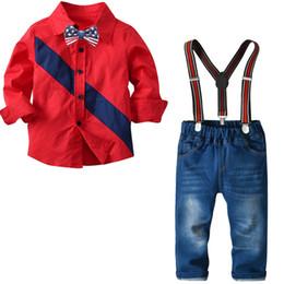Trajes de ropa para niños pequeños para niños pequeños 2019 Traje de otoño Camisa roja + Jeans 4 piezas Juego de traje para niños Ropa para bebés desde fabricantes