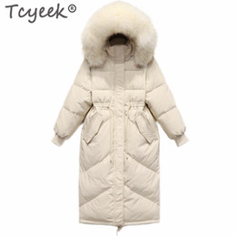 koreanische marke frauen wintermantel Rabatt Tcyeek Winter White Duck Down Jacket Women Markenkleidung 2019 Korean X-Long Daunenmantel Große Pelz Kapuze Overcoat Hiver LW1638