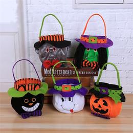 cubos de dulces de halloween Rebajas Cubo de calabaza de Halloween Vampiro de dibujos animados Gato negro Bolsos de bruja fantasma Bolsos de dulces de Halloween Bolsos de dulces de regalo de fiesta 5159