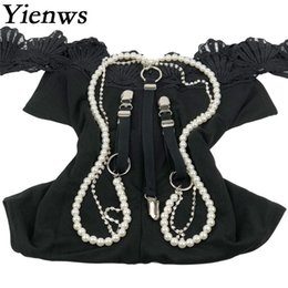 Pantaloni pantaloni online-Femmina Pantaloni Bretelle 3 Clip Button Pantaloni Bretelle per le donne Moda Perle perline Diamond Suspenders YiA069
