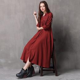 2018 New Folk-custom Style Cotone Lino lungo abito da donna vino rosso  ricamo sciolto lanterna manica abiti retrò ef6d84848a4