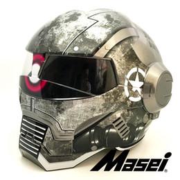 2019 ярко-серый заку армия военная машина MASEI IRONMAN Железный человек шлем мотоциклетный шлем ретро половина шлем с открытым лицом 610 ABS от Поставщики расширения парика