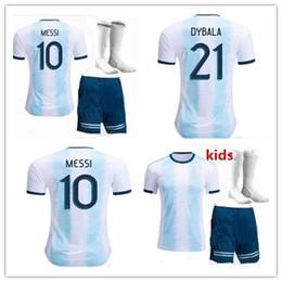 Messi kids jersey argentine en Ligne-Maillot de foot New Argentina domicile 2019/20 Argentina Kit adultes Maillot de foot MESSI DYBALA DI MARIA AGUERO HIGUAIN
