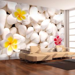 Telón de fondo de tv online-Moderno Simple White Stone Flowers Photo Wallpaper Sala de estar TV Dormitorio Estudio Telón de fondo Recubrimiento de pared Papeles de pared 3D