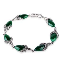 925 jóias de prata tailândia Desconto Jade Anjo 925 Prata Tailândia Pulseira Vintage com Ágata Verde Design de Jóias Finas Pulseira de Prata Esterlina