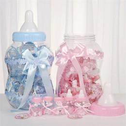 2019 paquetes de ducha Embalaje creativo del biberón Cajas de ahorro Latas de plástico Caja de dulces Baby shower Caja de azúcar transparente T5I6012 paquetes de ducha baratos