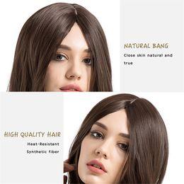 Perruques de cheveux longs réels pour les femmes en Ligne-Soins des cheveux perruque représente la mode féminine perruque brun foncé à long cheveux bouclés perruques 24 pouces confortable semble être réel humain février 13