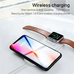 2019 iphone qi dock Nuevo cargador inalámbrico Qi de carga rápida para Apple Watch 2 3 Iwatch Iphone X 8 más 2 en 1 Adaptador inalámbrico rápido para el teléfono Dock Pad iphone qi dock baratos