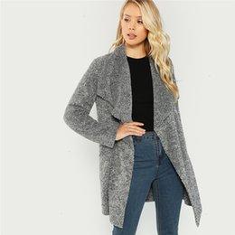Ladies primavera giacca cardigan cappotto lungo pullover CASCATA OVERSIZE