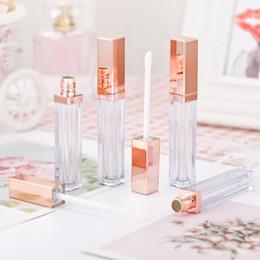 klarer lipgloss großhandel Rabatt Großhandel Rose Gold 6.5ml Leere Lipgloss Tube Bottle Square Klare Lipgloss Tube Kosmetik Make-up Lipgloss Verpackungsbehälter