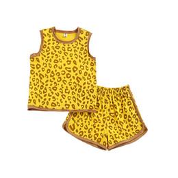 Fatos de treino de leopardo on-line-Crianças treino verão leopardo impressão casual meninos ternos crianças roupas de grife conjuntos de roupas meninos Vest + shorts meninas ternos crianças roupas A6623
