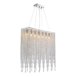 "chrome art deco Coupons - Modern Rectangle Linear Chandeliers Raindrop Island Lighting Fixture for Dining Room Kitchen Island L31.5"" Polished Chrome"
