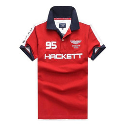 Спортивная рубашка-поло онлайн-Покупки 2019 Мужская мода Рубашки поло Hackett Хлопок Aston Martin 95 Англия Дизайн HKT Sport Racing Polo GT PRO Футболка M-2XL