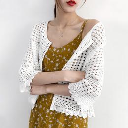 punte in pizzo crochet Sconti Cardigan aperto aperto scollo a V sottile a maniche lunghe in maglia da donna con scollo a cuore sottile in pizzo aperto femminile