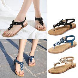 Sandals Womens 2020 New Fashion Bohemian style Rhinestone Elastic band Seaside Beach Sandals Womens Casual Shoes Plus Size 42