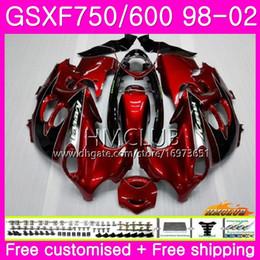 1998 suzuki katana Desconto Kit para SUZUKI KATANA GSX750F GSXF750 1998 Vinho tinto 1999 Cool 2000 2001 2002 Corpo 3HM.21 GSXF 750 600 GSX600F GSXF600 98 99 00 01 02 Carenagem