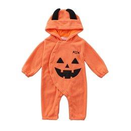 2019 оранжевый комбинезон дети Хэллоуин костюмы тыква шапка комбинезон детские детская одежда оранжевый с длинными рукавами комбинезон комбинезоны ползать одежда дети дизайнер одежды JY428 скидка оранжевый комбинезон дети