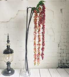 decorazione di rami pendenti Sconti Luxury Long Hanging Berry Fruit Branch Fiori artificiali Schiuma di plastica Piante finte per la decorazione domestica Plante Artificielle