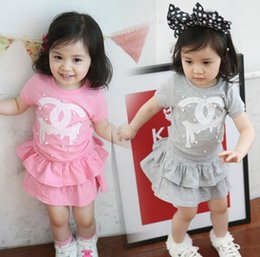 long neck pieces t shirt Coupons - New baby girl skirt clothing girls spring sets T-shirt+short cake skirts 2pcs baby girl's dresses children outfits kids clothes