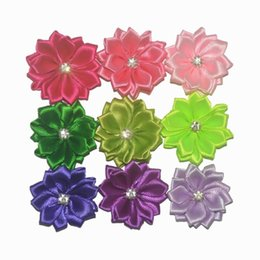 "Satinband rosetten online-120pc With Rhinestone Center Mini 1.5"" Satin Flowers Satin Ribbon Rosettes Headband Multilayer Flowers 40 color Avaliable"