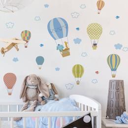 adesivos de parede para vestiários Desconto Balões de Ar quente Animais adesivos de parede decalques adesivo decorativo crianças quarto quarto sala de estar adesivo de parede pvc