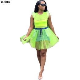 2019 jeans vestono più le donne di formato Gonna africana sexy Dashiki abiti africani per le donne 2019 New Fashion Stretch Jean Patchwork Mesh Africa Dress Clothes Plus Size sconti jeans vestono più le donne di formato