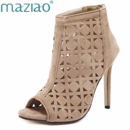 6245813db MAZIAO Verão Sandálias Gladiador Salto Alto Oco Mulheres Sexy Frente  Stilettos Abertos Bombas Genova Sapatos Mulher Ankle boots