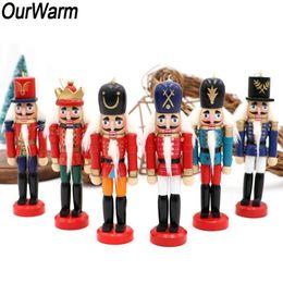 Argentina OurWarm 6 piezas de madera en miniatura muñeca cascanueces Soldado Figurines artesanal de marionetas Año Nuevo del vintage Adornos de Navidad Decoración SH190920 Suministro