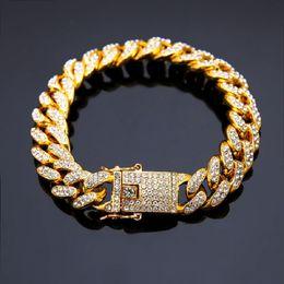 braceletes de ouro branco 24k Desconto Moda de Nova Mens Pulseiras 14k Correntes do ouro cubana Fazer a ligação Pulseira Punk Hip Hop Jóias Ouro Prata Rhinestone Color Design Homens do presente para homens