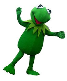 Costumi della mascotte della rana online-Kermit Frog Mascot Costumes Tema animato Happy Frog Cartoon mascotte Personaggio adulto Halloween Carnival party Costume