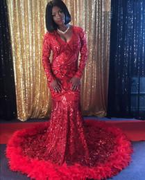 Projetos das penas dos vestidos on-line-Sereia Vestidos de Baile Vermelho 2019 Novo Design Pena Lace Mangas Compridas Formais Evening Party Gowns DP0028