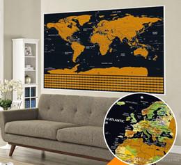 Sticker mural de voyage en Ligne-Drop shipping grande taille Deluxe Edition Scratch Carte Du Monde Avec Scratch Off Couche Journal de Voyage Visuel pour cartes de voyage stickers muraux 82.5x59cm