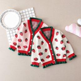 suéter de morango Desconto Varejo camisola do bebê menina single-breasted cardigan de morango Toddle crianças jaquetas casaco outwear crianças roupas boutique roupas