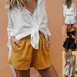 bulk wholesale clothes Coupons - Women Summer Casual Shorts Solid Shorts Belt Beach High Waist Short Trousers Summer Women Clothes Wholesale In Bulk Price