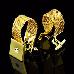 2020 gemelli in oro bianco per gli uomini Shirts francesi Gemelli Di alta qualità Affari banchetto di nozze quotidiano Accessori Oro Argento catena di cristallo bianco Gemelli Uomo gemelli in oro bianco per gli uomini economici