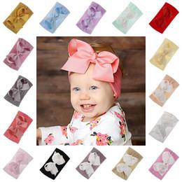Grande fascia della testa dell'arco online-Big Bowknot Fascia Baby Ribbon Bow Nylon Hair Band Bambini Boy Girl Turban Head Wrap Accessori per capelli