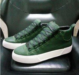 Высокое качество Арена обувь мужчины зеленый / красный/белый / черный праздник коллекция Highcut кроссовки мягкие морщинистые Geunine кожа плоские туфли my1789601 от