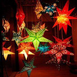 2019 peonia nera artificiale Nuova lanterna di carta colorata stampata della stella 60cm per le decorazioni della festa nuziale di Natale Paralumi di carta principali LX4628