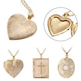 2019 золотые сладкие коробки Romantic Sweet Love Heart Picture Photo Frame Memory Locket Pendant Necklace Beautifully Carved Box Gold Chain Charms Jewelry скидка золотые сладкие коробки