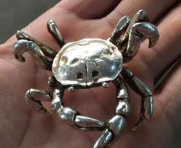 velho miao prata Desconto A velha prata miao da China esculpe o santo padroeiro do vívido caranguejo