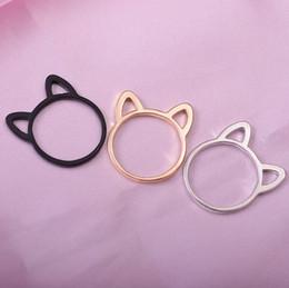 Anillos en forma de gato online-Los anillos de la banda del oído del gato de la joyería del diseñador ahuecan hacia fuera los anillos de la forma de la oreja del gato para las mujeres manera caliente linda