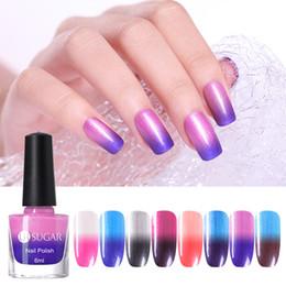 Großhandel schimmer nagellack online-UR SUGAR Perle Thermal Nagellack Glitter Farbe verändert Shimmer Nails Art Lack 6 ml Maniküre Großhandel Supplies