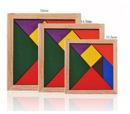Загадки для детей онлайн-Мини Tangram Деревянные Игрушки Дети Дети Образовательные Tangram Форма Деревянные Игрушки Головоломки Марка FT Блоки Бесплатно DHL