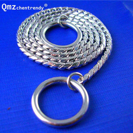 Stainless Steel Collar Neck Ring Necklace Silver Tone Round With Removable Ball